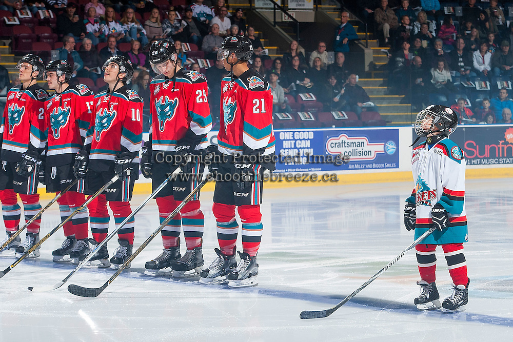 KELOWNA, CANADA - NOVEMBER 26: The Pepsi Save On Foods Player of the game and Calvin Thurkauf #27, Rodney Southam #17, Nick Merkley #10, Cal Foote #25 and Devante Stephens #21 of the Kelowna Rockets line up against the Regina Pats on November 26, 2016 at Prospera Place in Kelowna, British Columbia, Canada.  (Photo by Marissa Baecker/Shoot the Breeze)  *** Local Caption ***