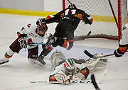 The Calgary Hitmen take flight during the intra-squad game at the Max Bell Arena in Calgary. (Photo by Jenn Pierce)