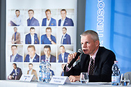 """Warsaw, Poland - 2017 April 19: Tomasz Pazik - Wheelchair Tennis Poland speaks while press conference during official visit of International Tennis Federation (ITF) at """"Orzel"""" Tennis Club  on April 19, 2017 in Warsaw, Poland.<br /> <br /> Mandatory credit:<br /> Photo by © Adam Nurkiewicz / Mediasport<br /> <br /> Adam Nurkiewicz declares that he has no rights to the image of people at the photographs of his authorship.<br /> <br /> Picture also available in RAW (NEF) or TIFF format on special request.<br /> <br /> Any editorial, commercial or promotional use requires written permission from the author of image."""