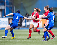 Kerin Lake of Wales under pressure from Lucia Gai of Italy<br /> <br /> Photographer Simon King/Replay Images<br /> <br /> Six Nations Round 1 - Wales Women v Italy Women - Saturday 2nd February 2020 - Cardiff Arms Park - Cardiff<br /> <br /> World Copyright © Replay Images . All rights reserved. info@replayimages.co.uk - http://replayimages.co.uk