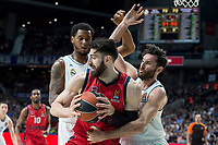 Real Madrid Trey Thompkins and Rudy Fernandez and Baskonia Vitoria Tornike Shengelia during Turkish Airlines Euroleague match between Real Madrid and Baskonia Vitoria at Wizink Center in Madrid, Spain. January 17, 2018. (ALTERPHOTOS/Borja B.Hojas)