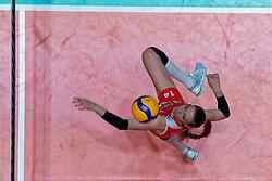 10–01-2020 NED: Olympic qualification tournament women Turkey - Belgium, Apeldoorn<br /> Last poule match Turkey and Belgium for qualifying semi finals win by Turkey 3-2 / Eda Erdem Dundar #14 of Turkey