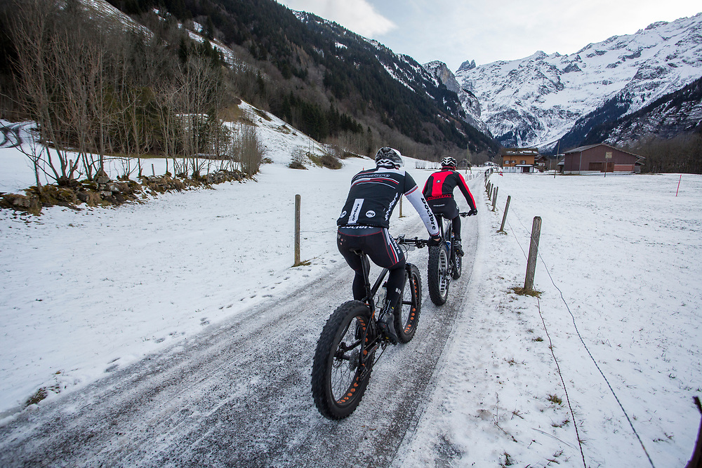 during race one of the first Snow Epic around the Furenalp Loop near Engelberg, in the heart of the Swiss Alps, Switzerland on the 15th January 2015<br /> <br /> Photo by:  Nick Muzik / Snow Epic / SPORTZPICS