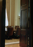 A 30.1 MG FILE FROM FILM OF:.The Board Room of the Federal Reserve Board of Governors as seen through a door in the hall. Photo by Dennis Brack