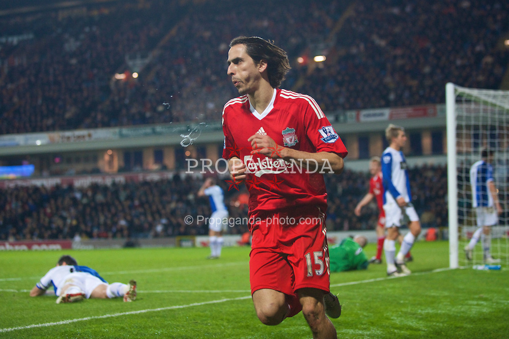 BLACKBURN, ENGLAND - Saturday, December 6, 2008: Liverpool's Yossi Benayoun celebrates scoring the second goal against Blackburn Rovers during the Premiership match at Ewood Park. (Photo by David Rawcliffe/Propaganda)