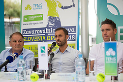Marko Umberger, Aljaz Kos and Gregor Krusic at Press conference before ATP Challenger Portoroz 2018, on July 17, 2018 in Ljubljana, Slovenia. Photo by Urban Urbanc / Sportida
