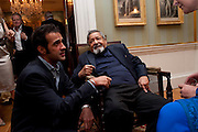 AATISH TASEER; V.S. NAIPAUL, David Campbell and Knopf host the 20th Anniversary of the revival of Everyman's Library. Spencer House. St. James's Place. London. 7 July 2011. <br /> <br />  , -DO NOT ARCHIVE-© Copyright Photograph by Dafydd Jones. 248 Clapham Rd. London SW9 0PZ. Tel 0207 820 0771. www.dafjones.com.