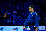 Warsaw, Poland - 2017 April 20: Adrian Gomboc from Slovenia (blue) while the men&rsquo;s 66kg semifinal during European Judo Championships 2017 at Torwar Hall on April 20, 2017 in Warsaw, Poland.<br /> <br /> Mandatory credit:<br /> Photo by &copy; Adam Nurkiewicz / Mediasport<br /> <br /> Adam Nurkiewicz declares that he has no rights to the image of people at the photographs of his authorship.<br /> <br /> Picture also available in RAW (NEF) or TIFF format on special request.<br /> <br /> Any editorial, commercial or promotional use requires written permission from the author of image.