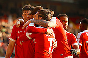 Charlton players celebrate a goal from Charlton Athletic midfielder Ricky Holmes (11) (1-0) during the EFL Sky Bet League 1 match between Charlton Athletic and Fleetwood Town at The Valley, London, England on 4 February 2017. Photo by Andy Walter.