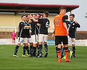 Josh Skelly is congratulated after equalising - Dundee v Dundee United, SPFL Development League at Gayfield, Arbroath<br /> <br />  - &copy; David Young - www.davidyoungphoto.co.uk - email: davidyoungphoto@gmail.com