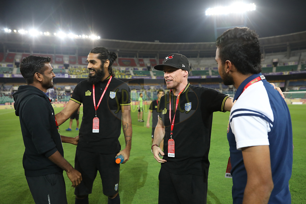 Iain Hume of Kerala Blasters FC  ,Sandesh Jhingan of Kerala Blasters FC with players  before the match 30 of the Hero Indian Super League between Chennaiyin FC and Kerala Blasters FC  held at the Jawaharlal Nehru Stadium, Chennai India on the 22nd December 2017<br /> <br /> Photo by: Arjun Singh  / ISL / SPORTZPICS