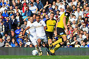 Leeds United midfielder Kemar Roofe (7) dodges tackles before scoring Leeds United's fourth goal (4-0) during the EFL Sky Bet Championship match between Leeds United and Burton Albion at Elland Road, Leeds, England on 9 September 2017. Photo by Richard Holmes.