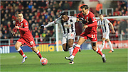 Victor Anichebe, Marlon Pack during the The FA Cup Third Round Replay match between Bristol City and West Bromwich Albion at Ashton Gate, Bristol, England on 19 January 2016. Photo by Daniel Youngs.
