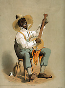 American theatre (poster) lithograph depictingan African American playing a banjo on a slave plantation circa 1860-70