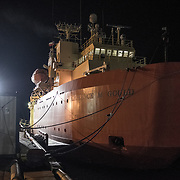 Icebreaker LMG moored in Punta Arenas the night before we left for Palmer Station in Antarctica. I traveled to Antarctica as a photographer with the National Science Foundation's Antarctic Artist and Writers Program.