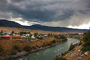 The Yellowstone River passes through Gardiner, Montana, the north west gateway town to Yellowstone National Park.
