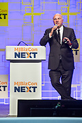 Kevin O'Leary speaks at Marijuana Business Daily's MJBizConNEXT convention and trade show at the New Orleans Morial Convention Center on May 9, 2018; Anne Holland Enterprises