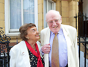 Pamela Cundell who died 14th February 2015 leaveing £1,251,725 in her will. <br /> <br /> Eric Sykes <br /> Blue plaque unveiling <br /> by the Heritage Foundation<br /> at 9 Orme Court, Bayswater, London, Great Britain <br /> <br /> 7th July 2013 <br /> <br /> Pamela Cundell<br /> who played Mrs Fox in dad's Army <br /> <br /> Frank Williams who played <br /> The Reverend Timothy Farthing <br /> in Dad's Army <br /> <br /> <br /> Photograph by Elliott Franks