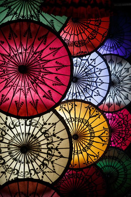 Collection of hand-made parasols on display, Nyaung-U, Bagan