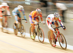 (Melbourne, Australia---08 April 2012) A Russian rider powers down the track during the Madison at the 2012 UCI Track Cycling World Championships.Copyright 2012 Sean Burges / Mundo Sport Images.