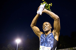 Akani Simbine of South Africa celebrates after 100m Men when he run 9,99 s during 20th European Athletics Classic Meeting in Honour of Miners' Day in Velenje on July 1, 2015 in Stadium Velenje, Slovenia. Photo by Vid Ponikvar / Sportida