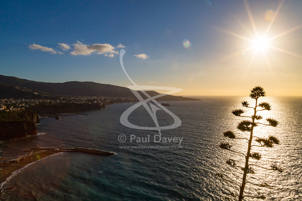 Sorrento, Italy, September 17 2017. The late afternoon sun reflects off the sea in the bay of Naples near Sorrento, Italy. © Paul Davey