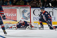 KELOWNA, CANADA - JANUARY 27: Connor Ingram #39 of the Kamloops Blazers makes a save against the Kelowna Rockets on January 27, 2017 at Prospera Place in Kelowna, British Columbia, Canada.  (Photo by Marissa Baecker/Shoot the Breeze)  *** Local Caption ***