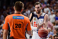Real Madrid's Rudy Fernandez talking with the referee during semi finals of playoff Liga Endesa match between Real Madrid and Unicaja Malaga at Wizink Center in Madrid, May 31, 2017. Spain.<br /> (ALTERPHOTOS/BorjaB.Hojas)