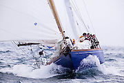 Senetor Ted Kennedy sailing aboard Mya during the Figawi Race.