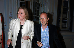 SIMON SEBAG-MONTEFIORE and Writer SARAH BRADFORD she is Viscountess Bangor at a party to celebrate the publication of 'Princesses' the six daughters of George 111 by Flora Fraser held at the Saville Club, Brook Street, London W1 on 14th September 2004.<br />