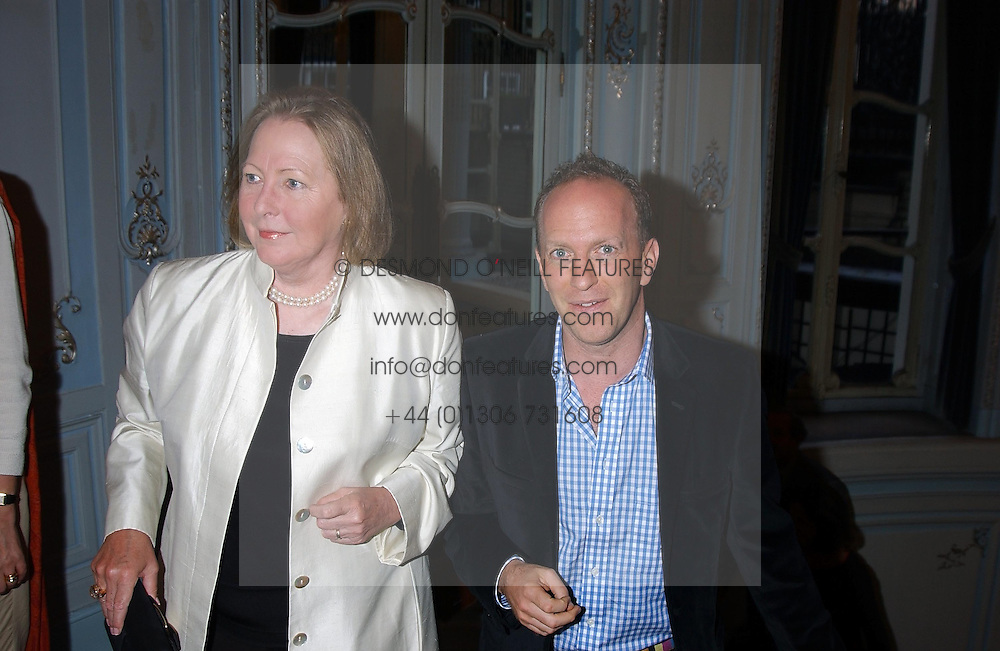 SIMON SEBAG-MONTEFIORE and Writer SARAH BRADFORD she is Viscountess Bangor at a party to celebrate the publication of 'Princesses' the six daughters of George 111 by Flora Fraser held at the Saville Club, Brook Street, London W1 on 14th September 2004.<br /><br />NON EXCLUSIVE - WORLD RIGHTS