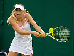 LONDON, ENGLAND - Thursday, June 26, 2008: Caroline Wozniacki (DEN) during her second round victory on day four of the Wimbledon Lawn Tennis Championships at the All England Lawn Tennis and Croquet Club. (Photo by David Rawcliffe/Propaganda)
