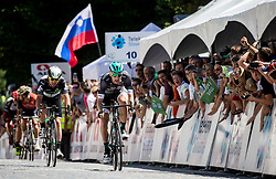 Mark Cavendish (GB) of Team Dimension Data and Sam Bennett (ITA) of Bora - Hansgrohe at finish line during last Stage 4 of 24th Tour of Slovenia 2017 / Tour de Slovenie from Rogaska Slatina to Novo mesto (158,2 km) cycling race on June 18, 2017 in Slovenia. Photo by Vid Ponikvar / Sportida