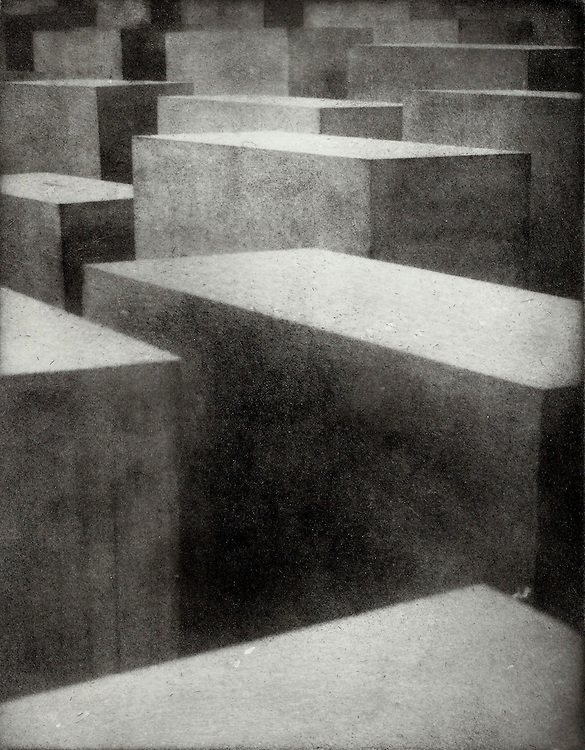 The Holocaust Memorial in Berlin, Germany contains over 1,300 concrete columns. This image was created using the Bromoil process.