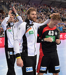 11.03.2016, Leipzig, GER, Handball L&auml;nderspiel, Deutschland vs Katar, Herren, im Bild Andreas Wolff (GER #33) und Niclas Pieczkowski (GER #43) // during the men's Handball international Friendlies between Germany and Qatar in Leipzig, Germany on 2016/03/11. EXPA Pictures &copy; 2016, PhotoCredit: EXPA/ Eibner-Pressefoto/ Modla<br /> <br /> *****ATTENTION - OUT of GER*****