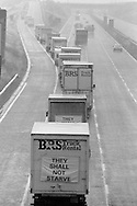 Convoy of 26 lorries carry food donated by London printers for miners families during the 1984 strike. 2 August 1984...&copy; Martin Jenkinson <br /> martin@pressphotos.co.uk  NUJ recommended terms &amp; conditions apply. Copyright Designs &amp; Patents Act 1988. Moral rights asserted credit required. No part of this photo to be stored, reproduced, manipulated or transmitted by any means without prior written permission.