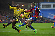 Jordon Mutch goes for the cross during the Barclays Premier League match between Crystal Palace and Watford at Selhurst Park, London, England on 13 February 2016. Photo by Michael Hulf.