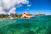 Woman on a bodyboard, Kauai, Hawaii