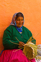 Tarahumara Indian woman weaving baskets outside the Posada Barrancas Mirador Hotel, Copper Canyon, near Divisadero, Mexico