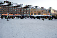 Unveiling of the Pile Driver Light installation by Artist Ilkka Paloniemi and press conference at the Turku Market Square on January 14th, 2011, Turku, Finland.