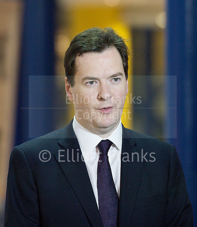 Conservative Party Conference, ICC, Birmingham, Great Britain <br /> Day 2<br /> 8th October 2012 <br /> <br /> Rt Hon George Osborne MP<br /> Chancellor of the Exchequer <br /> giving TV interviews <br />  <br /> <br /> <br /> Photograph by Elliott Franks<br /> <br /> <br /> Tel 07802 537 220 <br /> elliott@elliottfranks.com<br /> <br /> &copy;2012 Elliott Franks<br /> Agency space rates apply