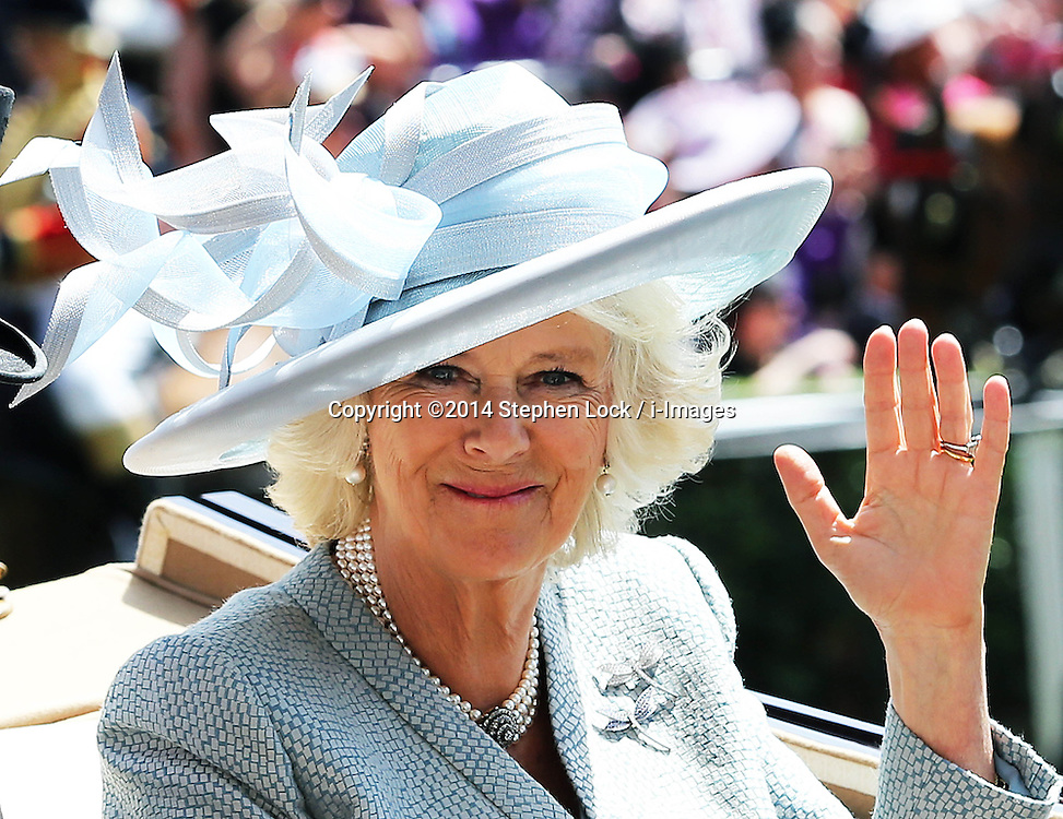 Image licensed to i-Images Picture Agency. 17/06/2014.Duchess of Cornwall  arriving  on  the opening day of Royal Ascot, United Kingdom. Picture by Stephen Lock / i-Images