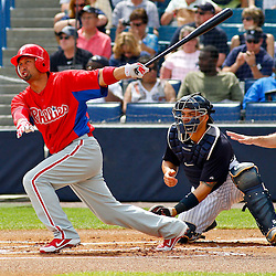 March 11, 2012; Tampa Bay, FL, USA; Philadelphia Phillies center fielder Shane Victorino (8) during a spring training game against the New York Yankees at George M. Steinbrenner Field. Mandatory Credit: Derick E. Hingle-US PRESSWIRE