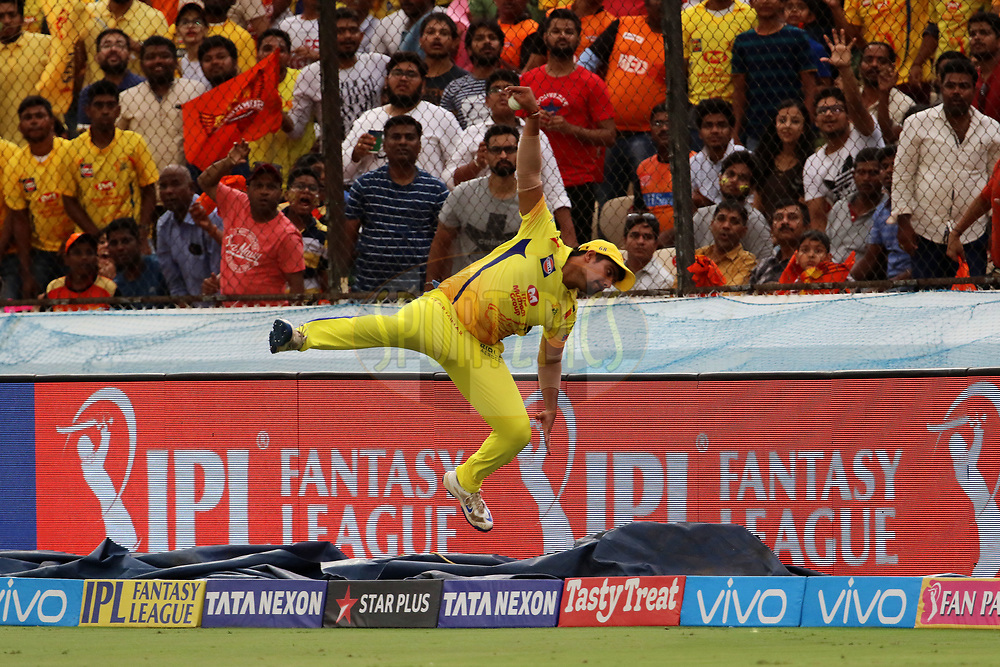 Karn Sharma of the Chennai Superkings jumps to save a six during match twenty of the Vivo Indian Premier League 2018 (IPL 2018) between the Sunrisers Hyderabad and the Chennai Super Kings held at the Rajiv Gandhi International Cricket Stadium in Hyderabad on the 22nd April 2018.<br /> <br /> Photo by: Vipin Pawar / IPL/ SPORTZPICS