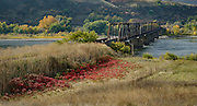 Idaho, North Central, Lewiston. A railroad bridge over the clearwater River in autumn.