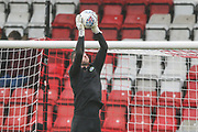 Forest Green Rovers goalkeeper Adam Smith(1) warming up during the EFL Sky Bet League 2 match between Stevenage and Forest Green Rovers at the Lamex Stadium, Stevenage, England on 26 December 2019.