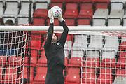 Forest Green Rovers goalkeeper Adam Smith(1) warming up during the EFL Sky Bet League 2 match between Stevenage and Forest Green Rovers at the Lamex Stadium, Stevenage, England on 26 December 2019.