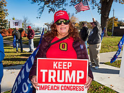 26 OCTOBER 2019 - DES MOINES, IOWA: About 20 supporters of US President Donald Trump picket Drake University Saturday. They were picketing against an appearance by Representative Nancy Pelosi (D-CA), the Speaker of the House of Representatives. Speaker Pelosi talked about her experiences as Speaker of the House after the Democrats took back the House of Representatives in the 2018 midterm elections.         PHOTO BY JACK KURTZ