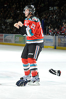 KELOWNA, CANADA, OCTOBER 29: MacKenzie Johnston #22 of the Kelowna Rockets gets in the face of Tyler Hansen #2 of the Kamloops Blazers as the Kamloops Blazers visit the Kelowna Rockets  on October 29, 2011 at Prospera Place in Kelowna, British Columbia, Canada (Photo by Marissa Baecker/Shoot the Breeze) *** Local Caption *** MacKenzie Johnston;Tyler Hansen;