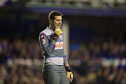 LIVERPOOL, ENGLAND - Saturday, January 4, 2014: Queens Park Rangers' goalkeeper Julio Cesar in action against Everton during the FA Cup 3rd Round match at Goodison Park. (Pic by David Rawcliffe/Propaganda)